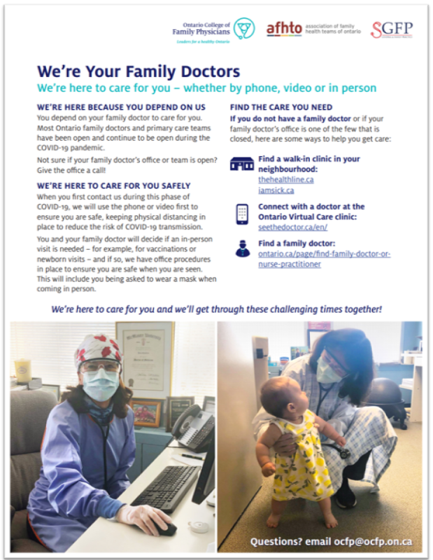We're Your  Family Doctors – We're Here to Care for You