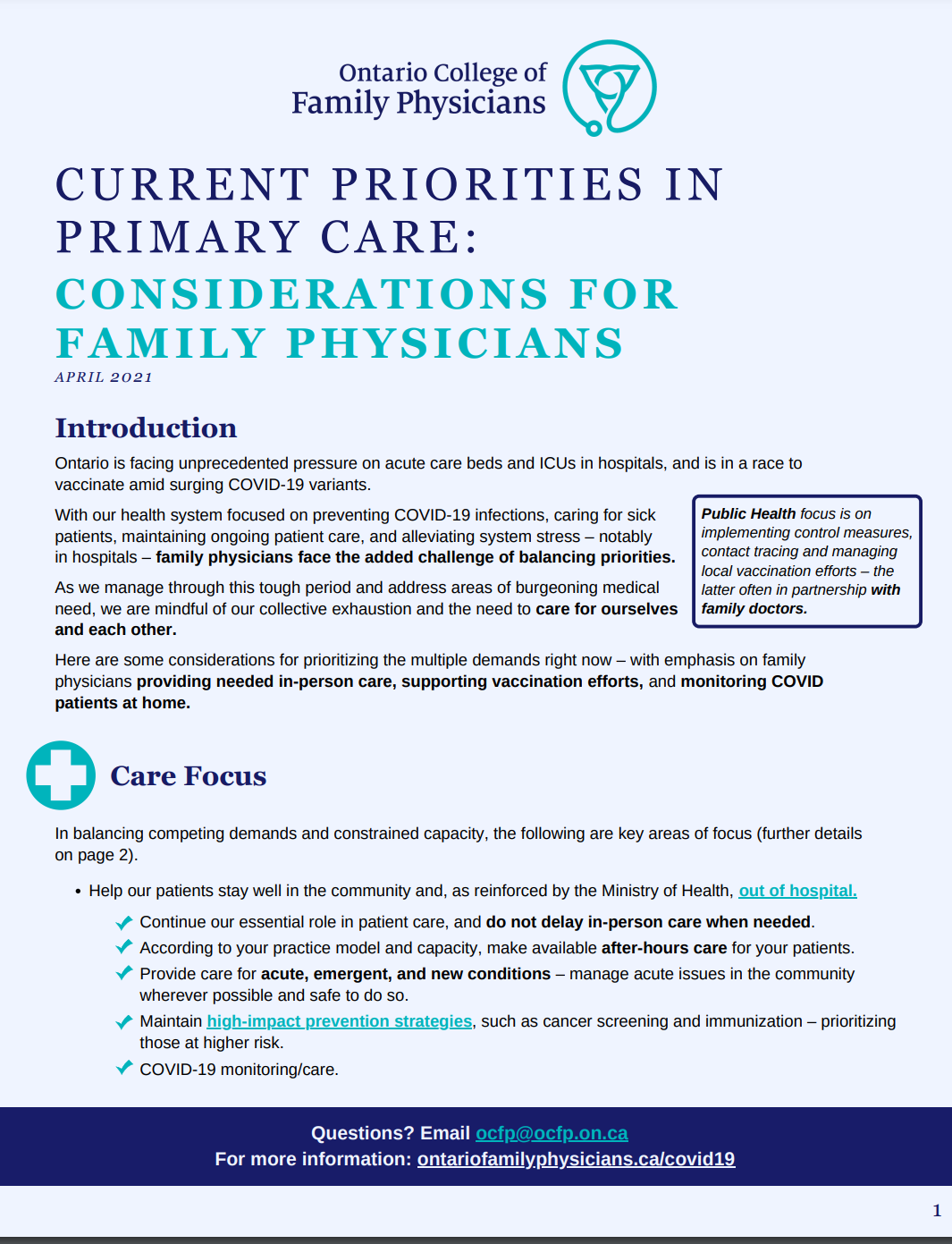 current priorities in primary care